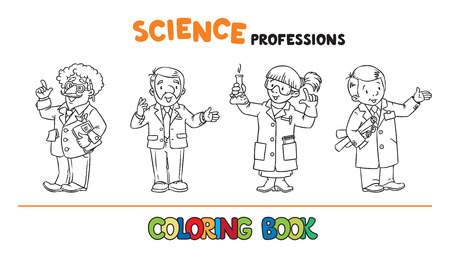 Science professions coloring book set