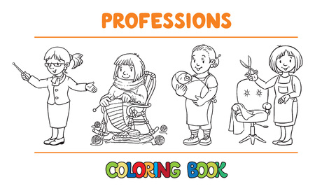 sitter: Womans profession coloring book set Illustration