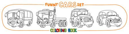 Pequeños coches divertidos con los ojos. Juego de libro para colorear Foto de archivo - 84471025