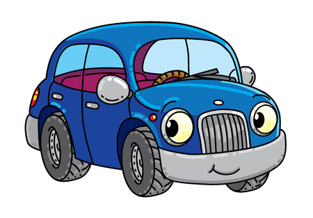 Funny small car with eyes. Illustration