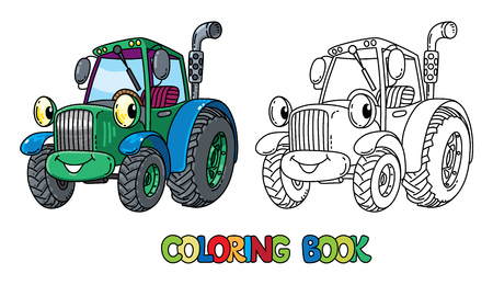 Funny small tractor with eyes. Coloring book