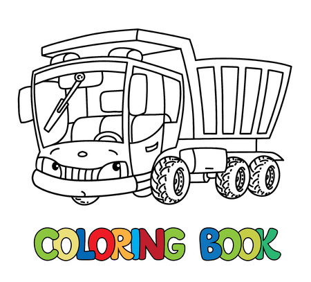 dump truck or lorry coloring book for kids small funny vector cute car with eyes