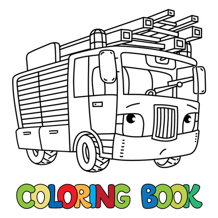 Fire Truck Or Firemachine With Eyes Coloring Book Royalty Free ...