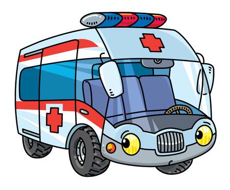Funny small ambulance car with eyes vector illustration 일러스트