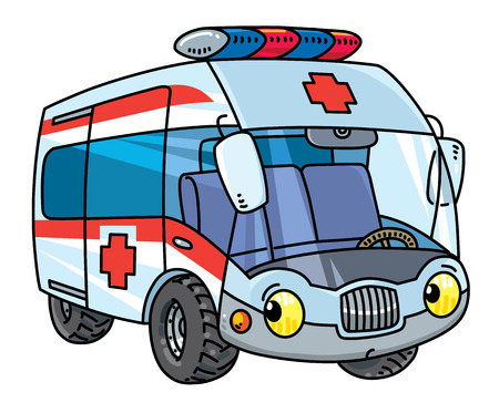 Funny small ambulance car with eyes vector illustration Vettoriali