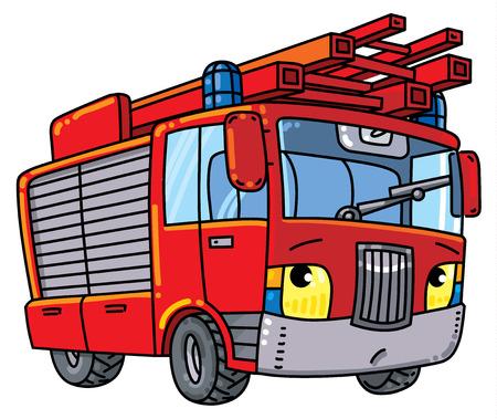 Camión de bomberos o firemachine con ojos Foto de archivo - 86261651
