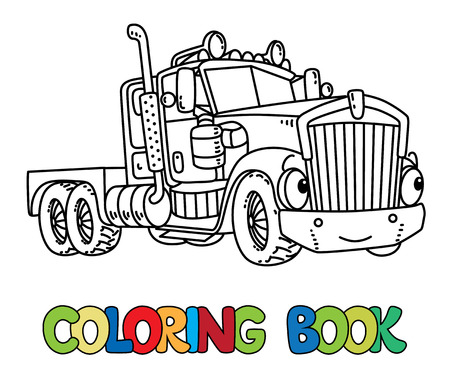 Funny heavy truck with eyes. Coloring book