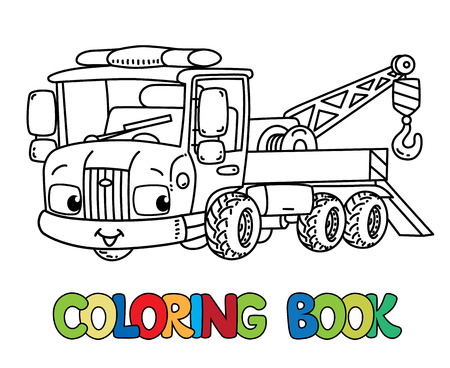 Funny small tow truck with eyes for coloring book