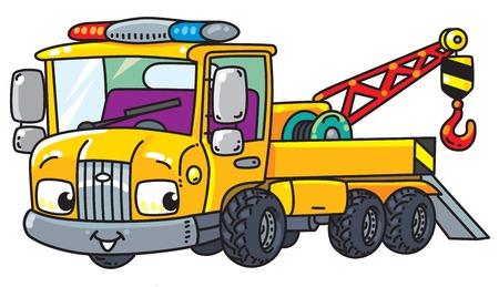 Lustiger kleiner Abschleppwagen mit Augen