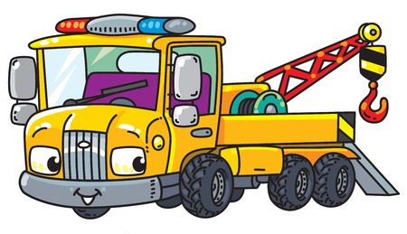 Funny small tow truck with eyes Vettoriali
