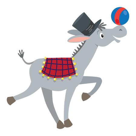 Funny gray donkey with ball Illustration