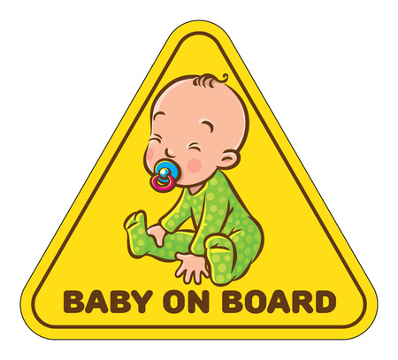Funny small baby sitting with dummy, vector illustration. Illustration