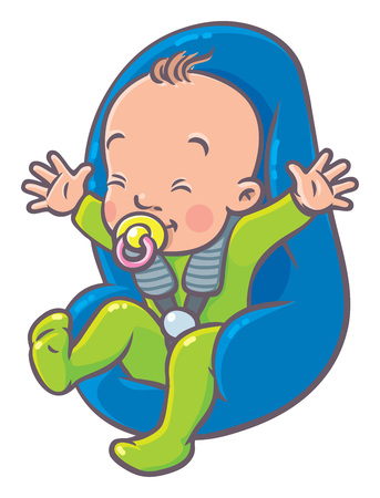 Funny small baby with dummy in the car seat. Illustration