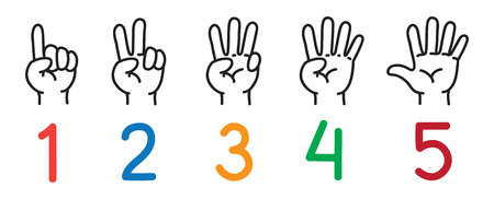 Hands with fingers. Icon set for counting education. Stock Illustratie