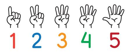 Ręce palcami. Zestaw ikon do liczenia edukacji.
