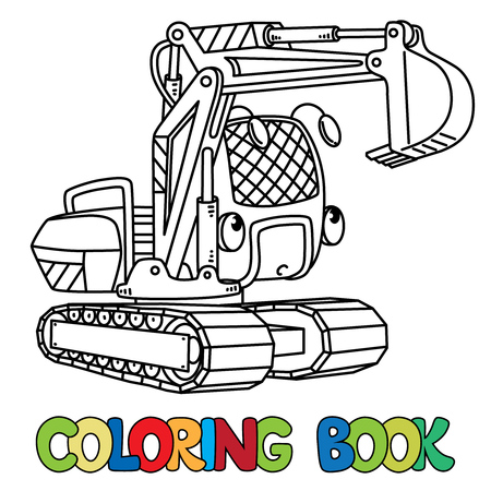 Excavator coloringbook for kids. Small funny vector cute excavator with eyes and mouth. Children vector illustration