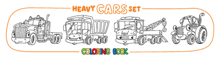 Truck, lorry, tow truck and tractor. Small funny vector cute cars with eyes and mouth. Coloring book set for kids vector illustration Illustration