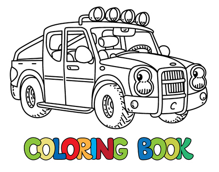 Funny Small Tow Truck With Eyes For Coloring Book Royalty Free ...