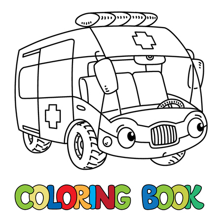 Funny small ambulance car with eyes. Coloring book