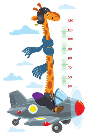 Giraffe on plane. Meter wall or height chart