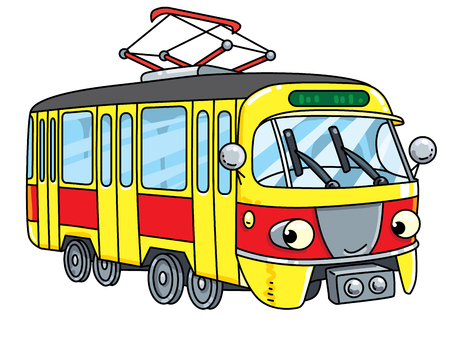 Funny small tram or tramway with eyes Illustration