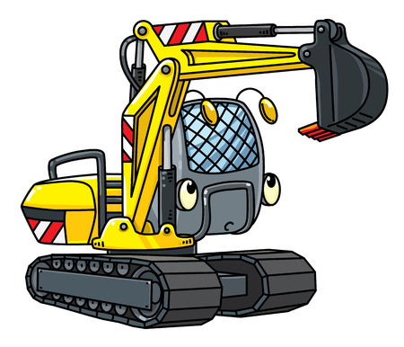 Funny small excavator with eyes Illustration