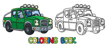Pequeña camioneta divertida con los ojos. Libro de colorear Foto de archivo - 89551799