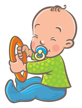 Funny small baby sitting with dummy and ring
