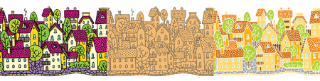 City seamless pattern set with houses and roofs
