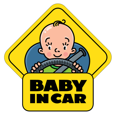 Baby in car. Back window sticker or sign Vettoriali