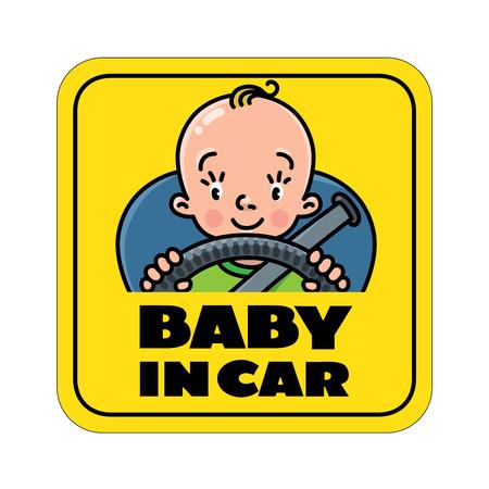 Bambino in macchina. Adesivo o cartello posteriore