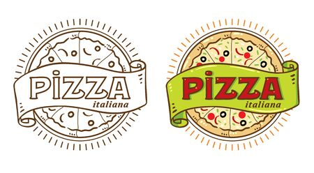 Pizza vintage logo Stok Fotoğraf - 90461764