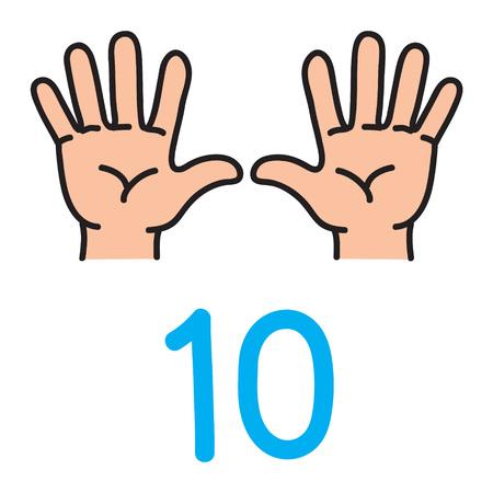 Kids hand showing the number ten hand sign. 일러스트