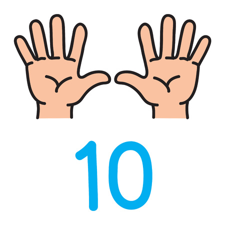Kids hand showing the number ten hand sign. Çizim