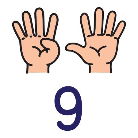 Mão dos miúdos mostrando o sinal do número nove. Foto de archivo - 90922737