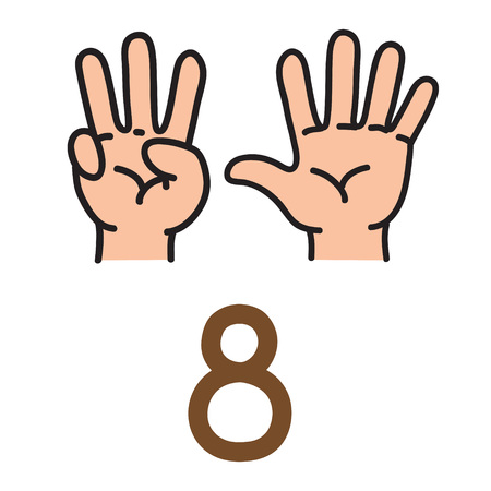 Kids hand showing the number eight hand sign. Vectores