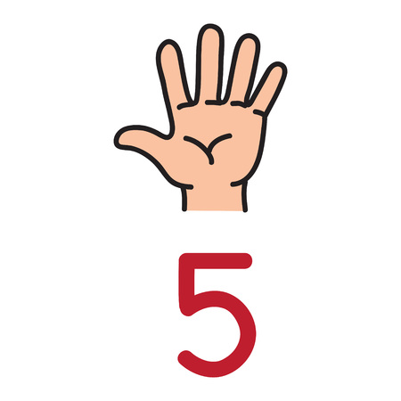 Kids hand showing the number five hand sign. Çizim