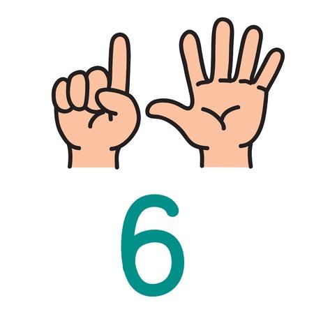Dzieci ręka pokazuje numerowi sześć ręka znaka.