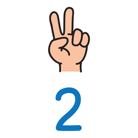 Kid's hand showing the number two hand sign. Vectores