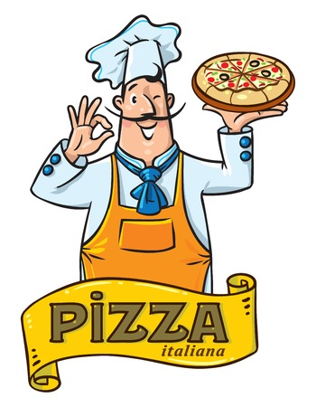 Funny italian chef with pizza emblem design