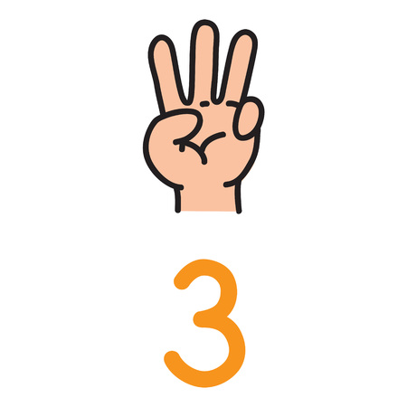 Kids hand showing the number three hand sign. Çizim