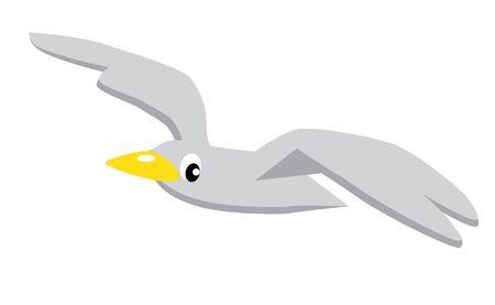 Funny flying seagull. Children's simple, vector illustration.