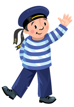 Happy jolly boy-sailor in vest and sailor hat, standing and waved his hand.