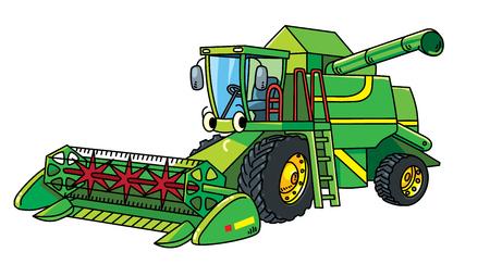 Mähdrescher. Nettes Auto des kleinen lustigen Vektors mit Augen und Mund. Kinder Vektor-Illustration. Landwirtschaftliche Maschinen