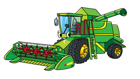 Truck harvester. Small funny vector cute car with eyes and mouth. Children vector illustration. Agricultural machinery