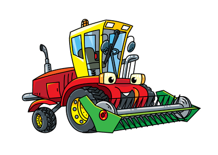 Truck harvester or lawn mower. Small funny vector cute car with eyes and mouth. Children vector illustration. Agricultural machinery Illustration