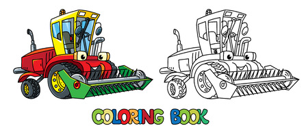 Truck harvester or lawn mower coloring book for kids. Small funny vector cute car with eyes and mouth. Children vector illustration. Agricultural machinery