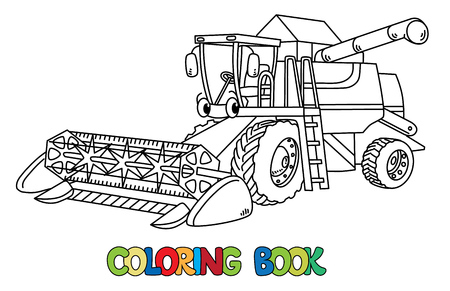 Combine harvester coloring book for kids. Small funny vector cute car with eyes and mouth. Children vector illustration. Agricultural machinery Vettoriali