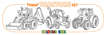 Tractor Coloring Book Set For Kids. Small Funny Vector Cute Cars ...