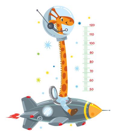 Giraffe on rocket illustration.